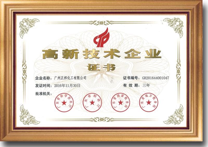 高新技术认定企业证书